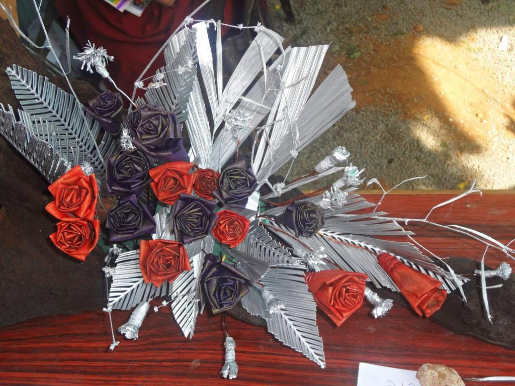 Dry Flower Arrangement on Mirror