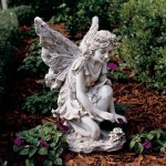 Garden Fairy Reading Book Statue