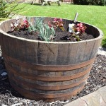 Half Barrel Wooden Planter