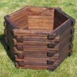 Hexagonal Wooden Planter Large