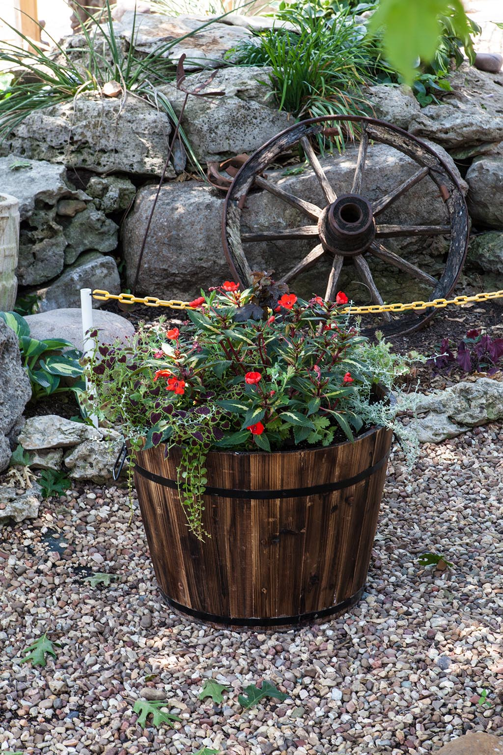 Large Round Wooden Barrel Planters