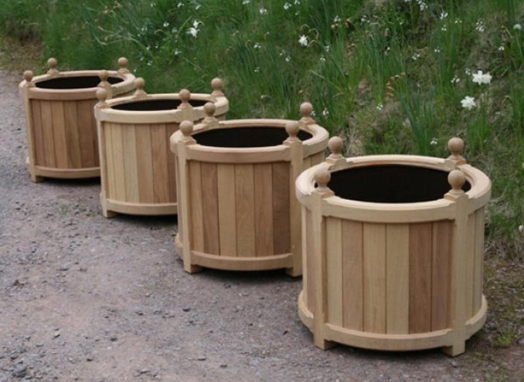 Large Round Wooden Planters