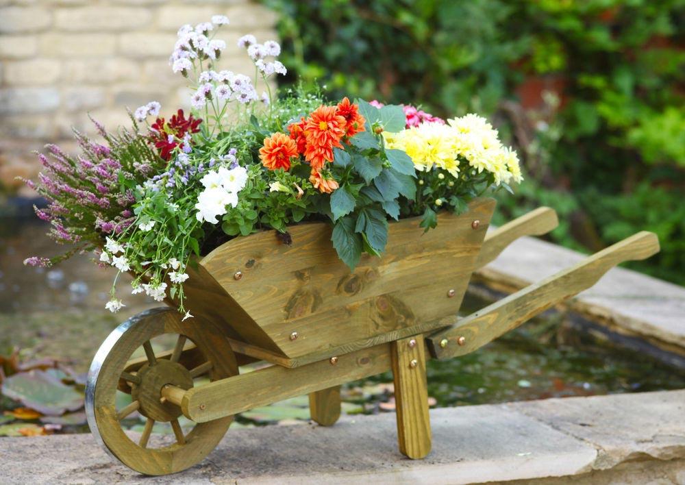 Large Wooden Wheelbarrow Planter