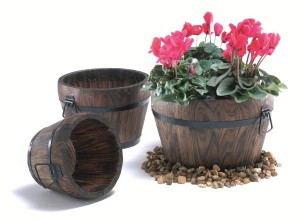 Small Wooden Barrel Planters