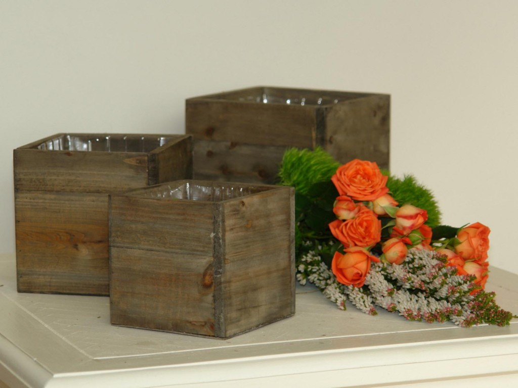Square Wooden Planter Boxes