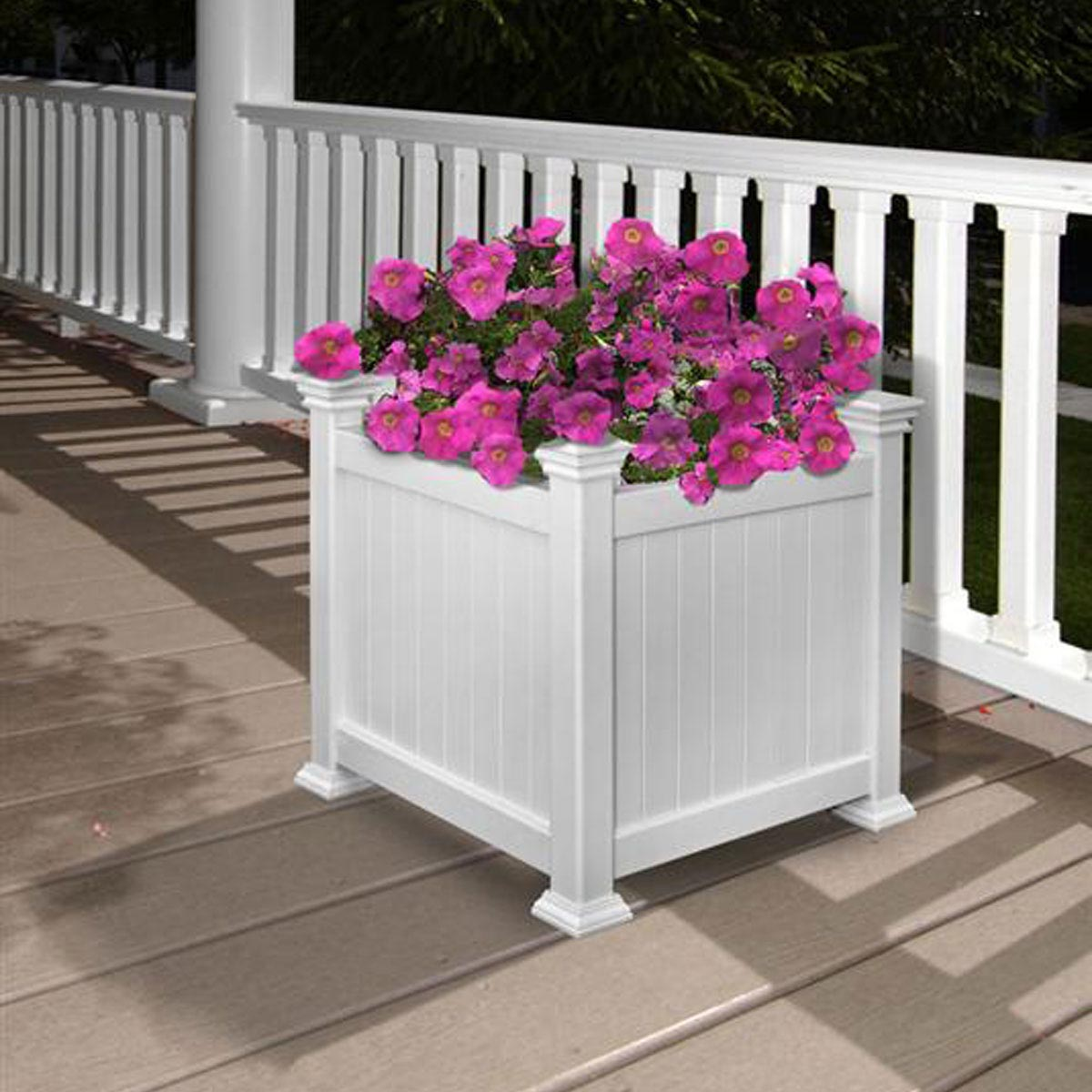 White Wooden Planter Boxes