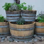 Wooden Barrel Garden Planter