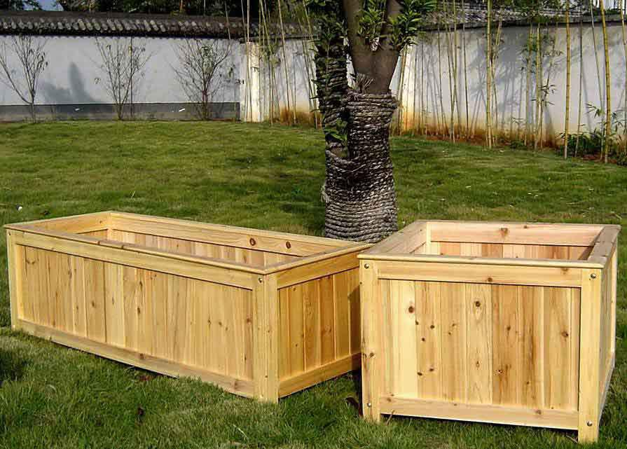Wooden Barrel Planters Homebase