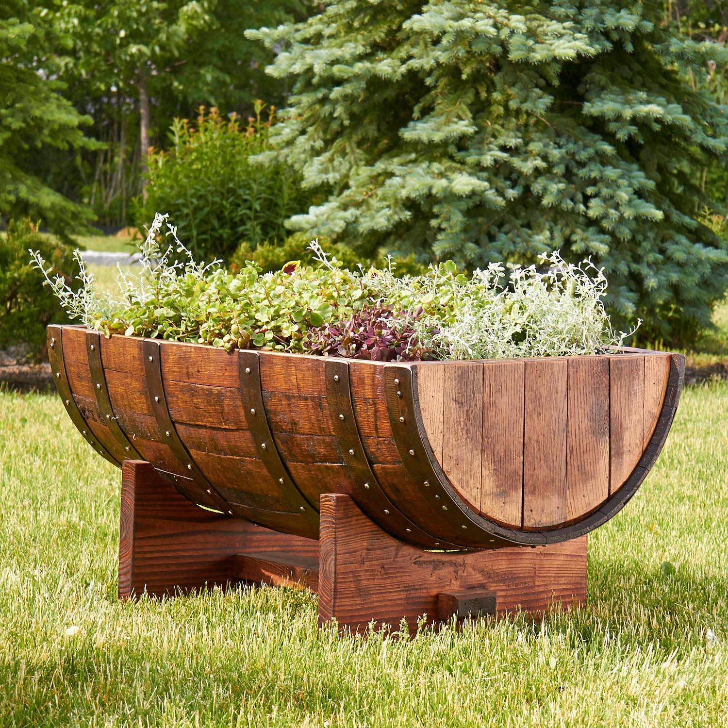 Wooden Half Barrel Planters