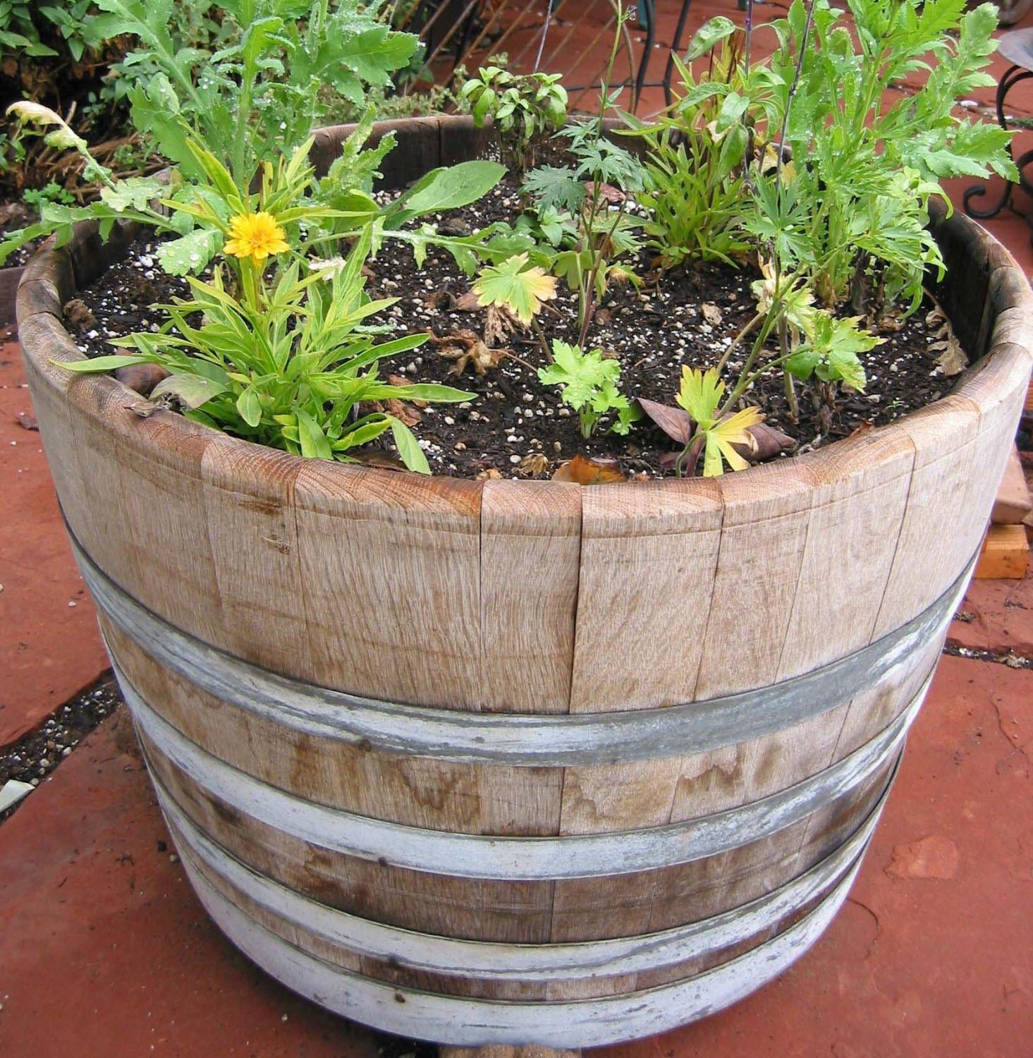 Wooden Wine Barrel Planters